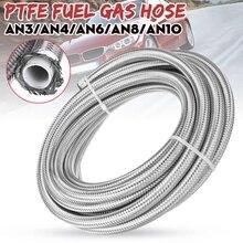 خرطوم وقود فضي عالمي ، خرطوم تبريد زيت الغاز ، أنبوب PTFE 304 من الفولاذ المقاوم للصدأ مزدوج مضفر 20 قدم AN3/AN4/AN6/AN8/AN10