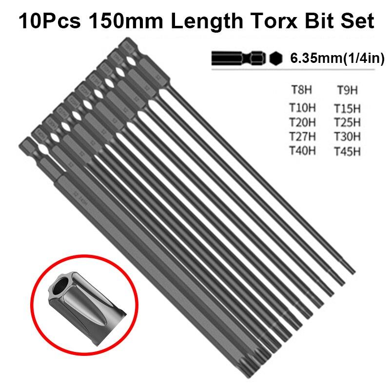 Lot de 10 embouts de tournevis à tête Torx longue de 150mm, jeu de mèches Torx noires avec trou S2, outil de perçage à tête magnétique en acier