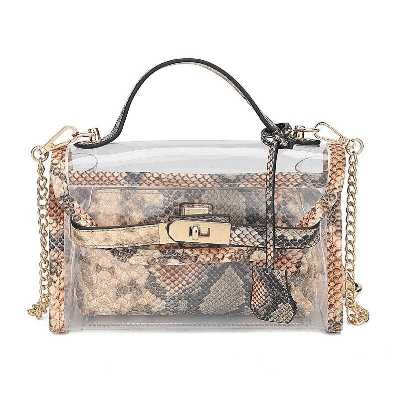 PUOU 2020 Новая летняя прозрачная сумка со змеиным узором сумки через плечо прозрачный сумка через плечо, женская сумка из змеиной кожи Сумки из...