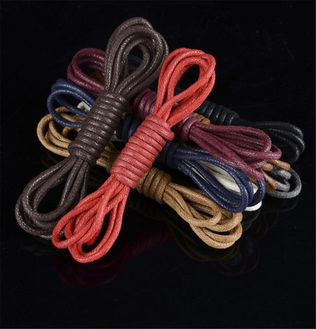 1 paire de lacets de chaussures rondes cirées de haute qualité pour Martin bottes hommes chaussures décontracté cuir occasionnels lacets en coton noir