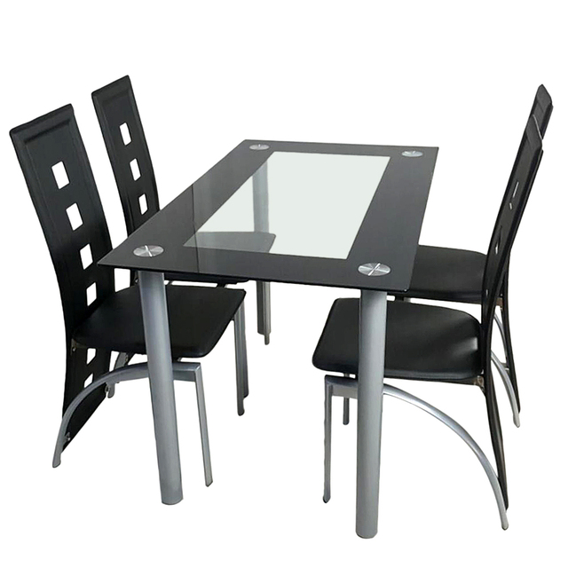 Tempered Glass Dining Table with 4 Chairs  2