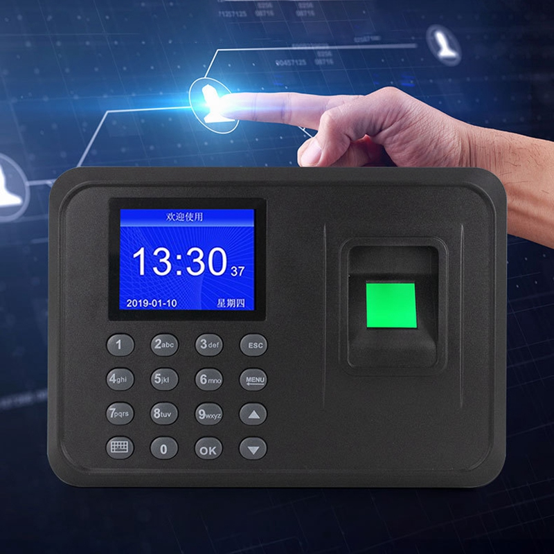 Fingerprint Attendance Machine LCD Display USB Fingerprint Attendance System Time Clock Employee Checking-In Recorder(EU Plug)