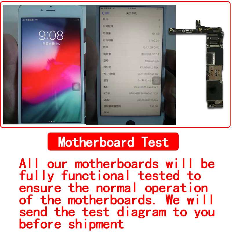 16GB 64GB 128GB for iphone 6 Plus Motherboard Original unlocked for iphone 6P Logic boards without with touch id mainboard in Mobile Phone Antenna from Cellphones Telecommunications