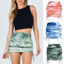 Knitted Skirt Lace-Up Pleated Printed High-Waist Women Fashion WDC6229 Stretch-Tie-Dye