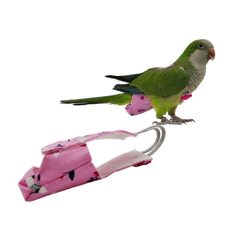 Parrot Diaper with Bowtie Cute Colorful Fruit Floral Cockatiel Pigeons Small Medium Large Pet Birds Flight Suit Clothes