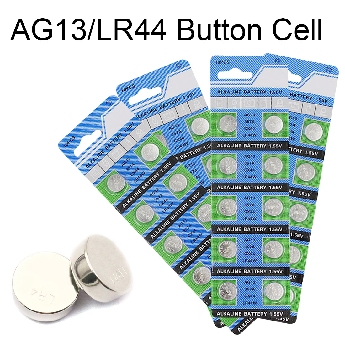 10PCS AG13 Watch Battery 357A CX44 LR44W Coin Cell Alkaline Batteries for Toy Calculator Laser Pointer Clock Watch Cameras 1.55V