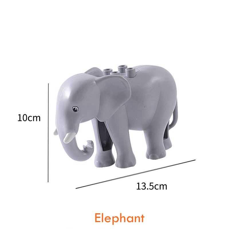 Duplo Animale Dinosauro Elefante Panda Scimmia Giraffa Zoo Modello Figure Grande Formato Building Blocks FAI DA TE Giocattoli Educativi Per I Bambini