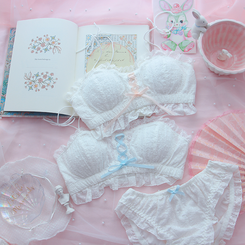 Japanese Fairy Retro Cotton Bra & Panties Sets Sexy Sweet Lolita French Style Soft Girl Lace Cute Bow Ribbon Underwear Set