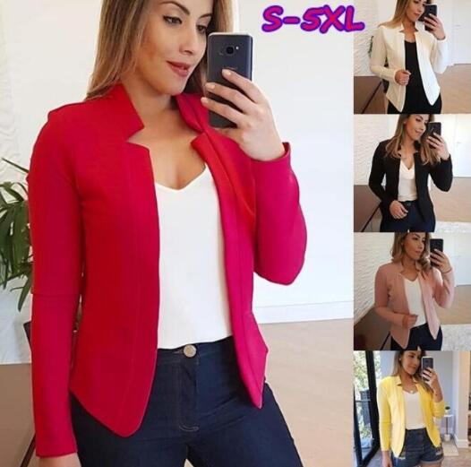 Ol Slim Casual Long Sleeve Feminino Women And Jackets Top Suit Casual Jacket Cardigan Open Stitch
