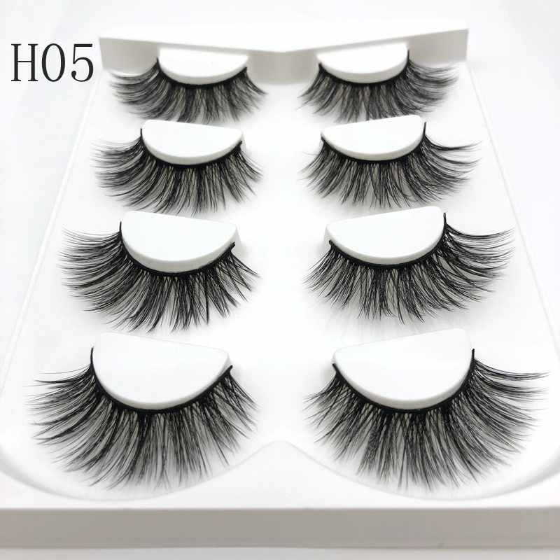 Buzzme 4 pairs natural false eyelashes high qualitya lash long makeup 3D faux mink lashes eyelash extensions silk lashes