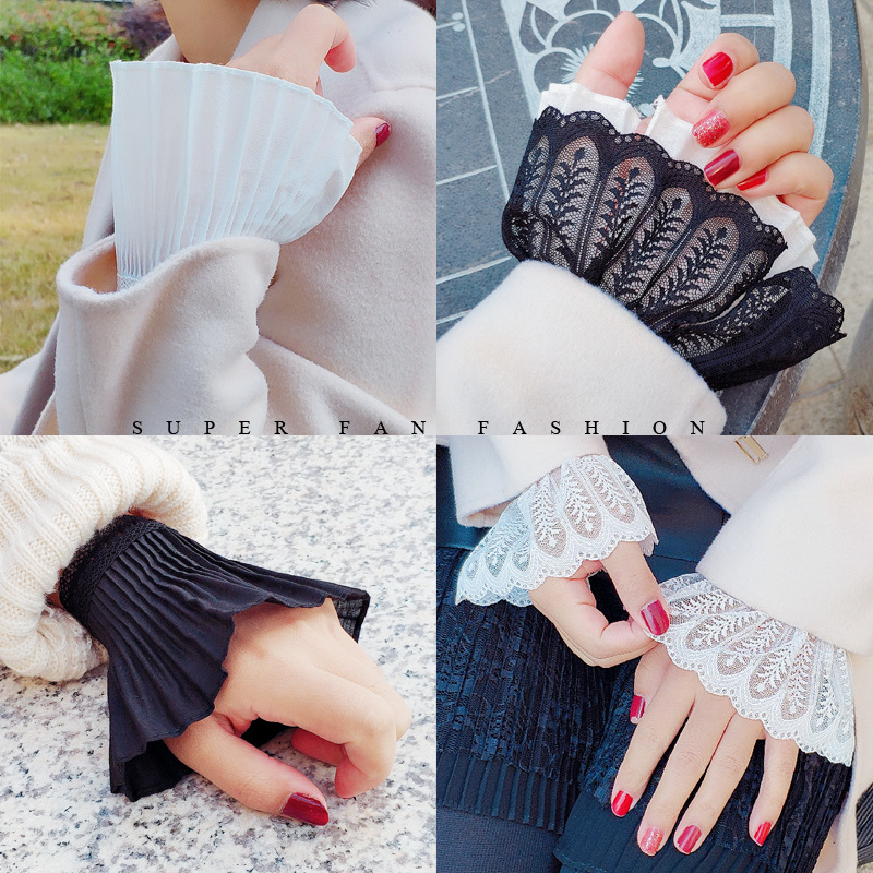Women Fake Flare Sleeves Floral Lace Pleated Ruched False Cuffs Sweater Blouse Apparel Wrist Warmers With Faux Pearl Button
