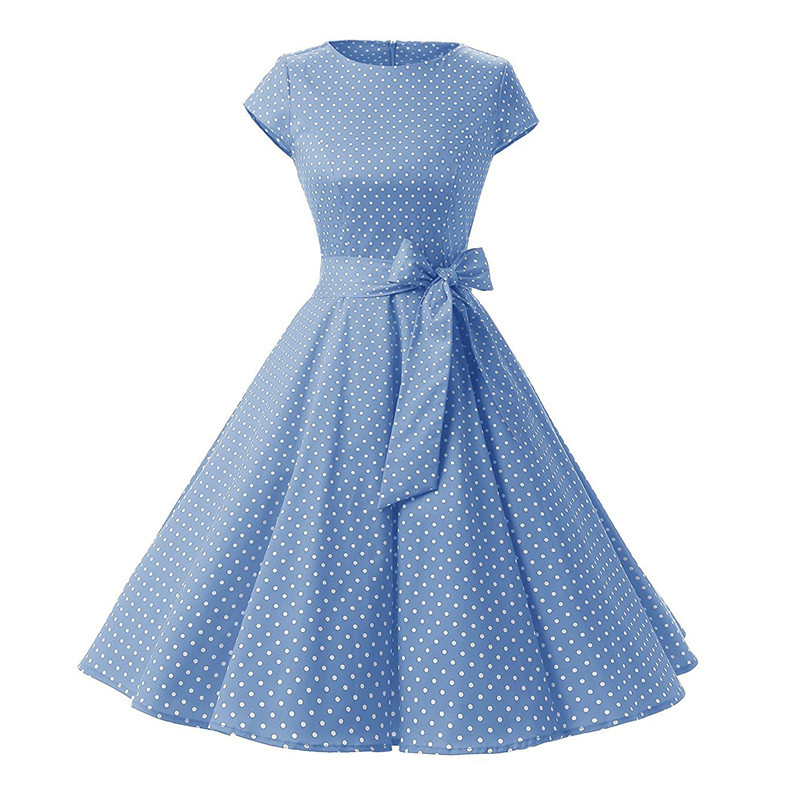 Женское Новое винтажное платье в горошек, 50 s, летнее платье с коротким рукавом, рокабилли, вечерние платья