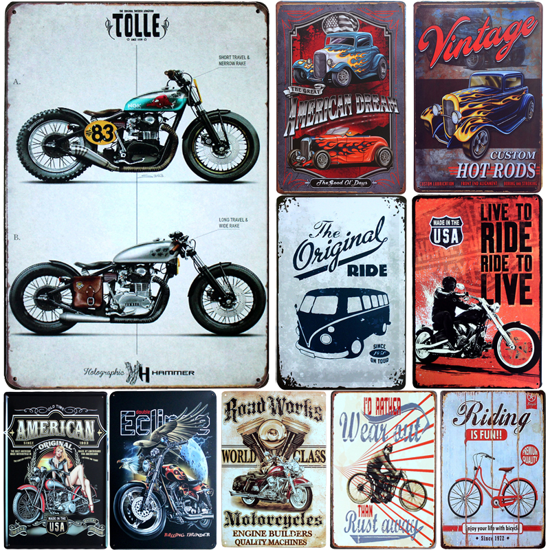 License Plate Vintage Motorcycles Metal Signs Home Decor Vintage Tin Signs Pub Vintage Decorative Plates Metal Wall Art Hot(China)