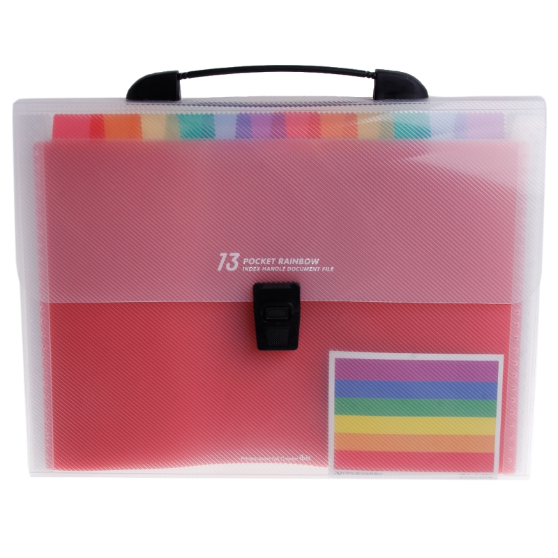 A4 Rainbow Expanding Document Folder 13 Pocket School Portable Accordion Bag X6HB