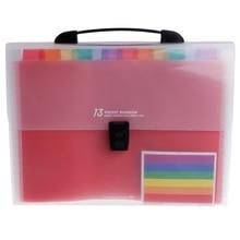 A4 Rainbow Expanding Document Folder 13 Pocket School Portable Accordion Bag X6HB цена