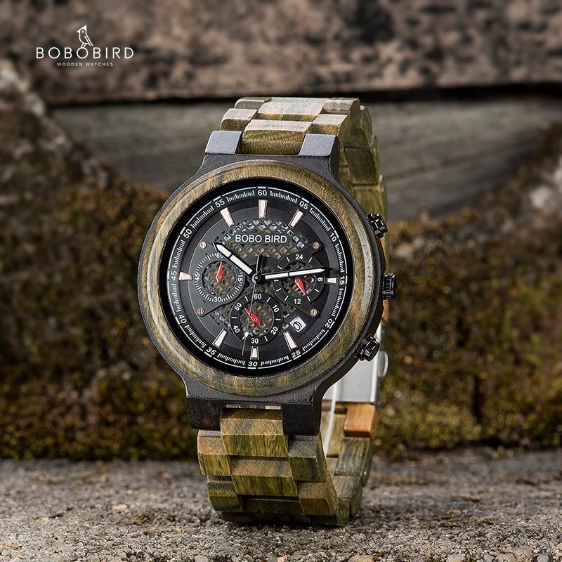 Relogio Masculino BOBO BIRD Wood Men Watch Quartz Wristwatch Chronograph Timepieces Chronograph For Him Valentine's Day Gift