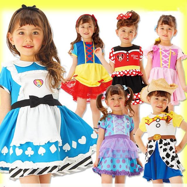 דיסני קפוא ילדים שמלות בנות תלבושות נסיכת שמלת ליל כל הקדושים מסיבת חג מולד קוספליי בגדי ילדים Cartoon תחרה