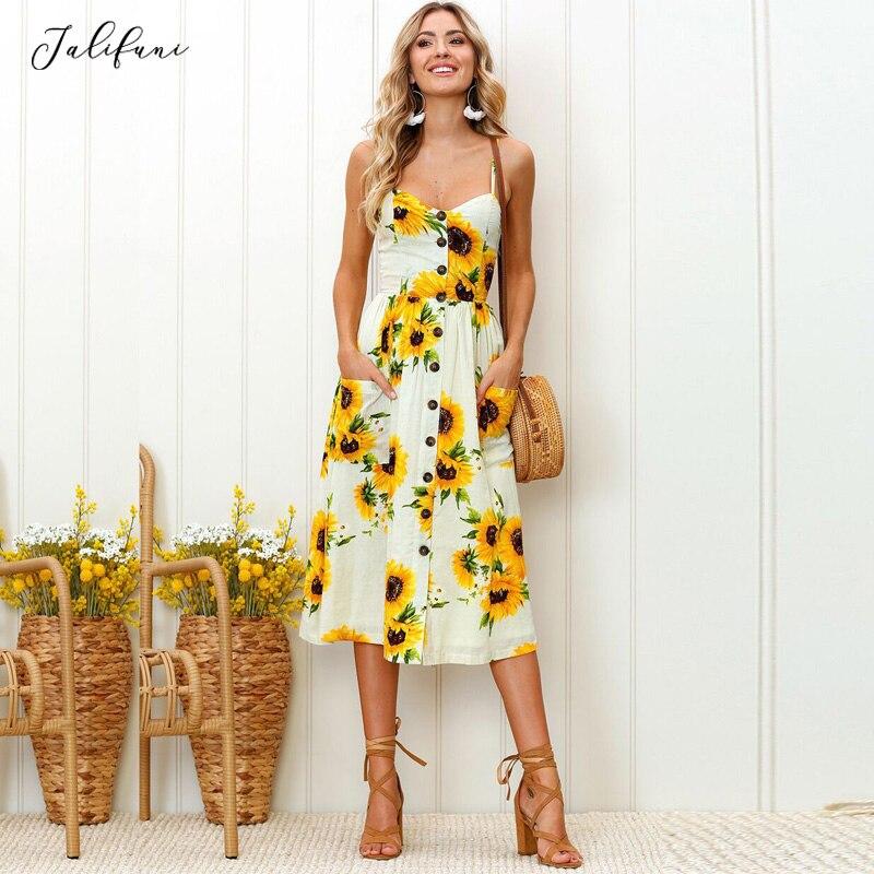 Women's Sunflower Knee Length Summer Dress Woman Casual V Neck Spaghetti Strap Sundress Ladies Holiday Beach Dress Vestidos 2019