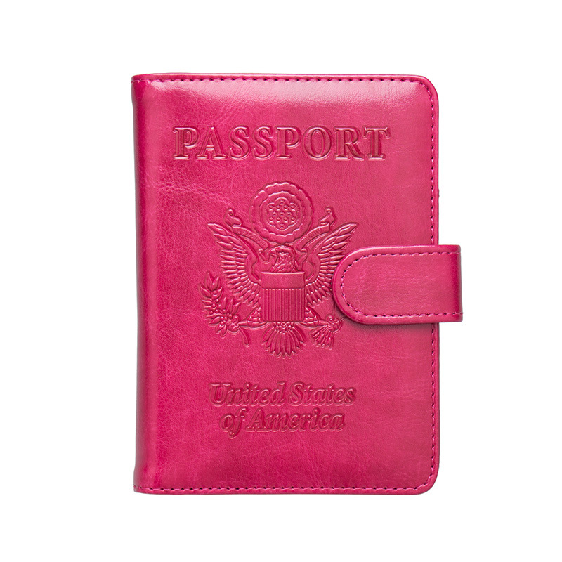 Zoukane USA Eagle Emblem Leather Passport Cover Clasp Anti-magnetic Passport Case Ticket ID Holder Passport Wallet Clip ZSPC49