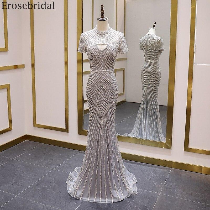 Erosebridal Elegant Mermaid Evening Dress Long O Neck Grey Luxury Beads Long Prom Dress Short Sleeve Small Train Zipper Back