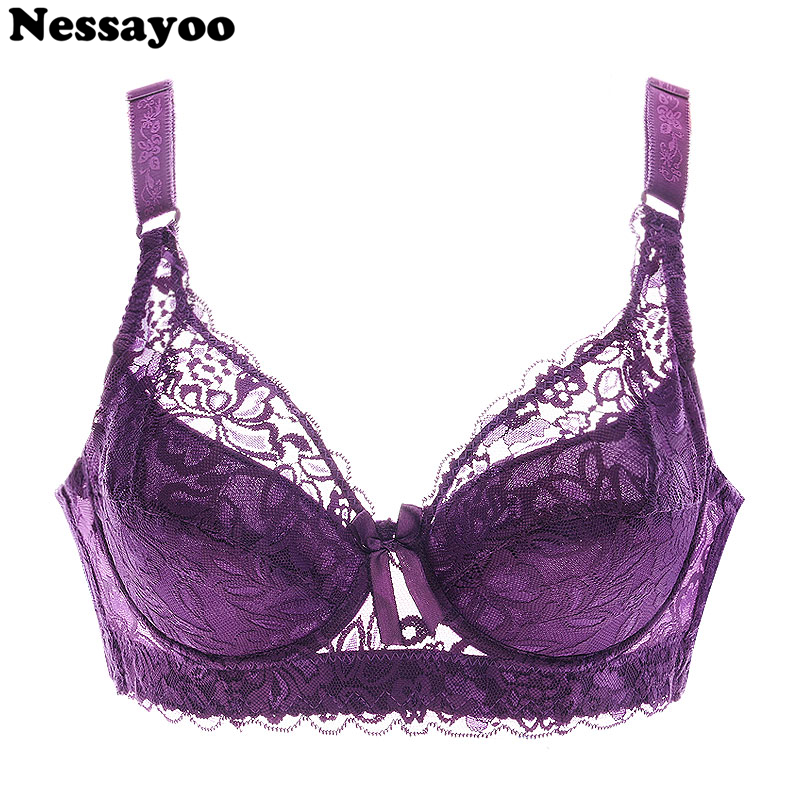 Sexy Cotton Bra Floral Lace Sexy Bras Plus Size 46D Women Wirefree Underwear DeepV Bra Soft And Comfort Fit Wirefree Support Bra