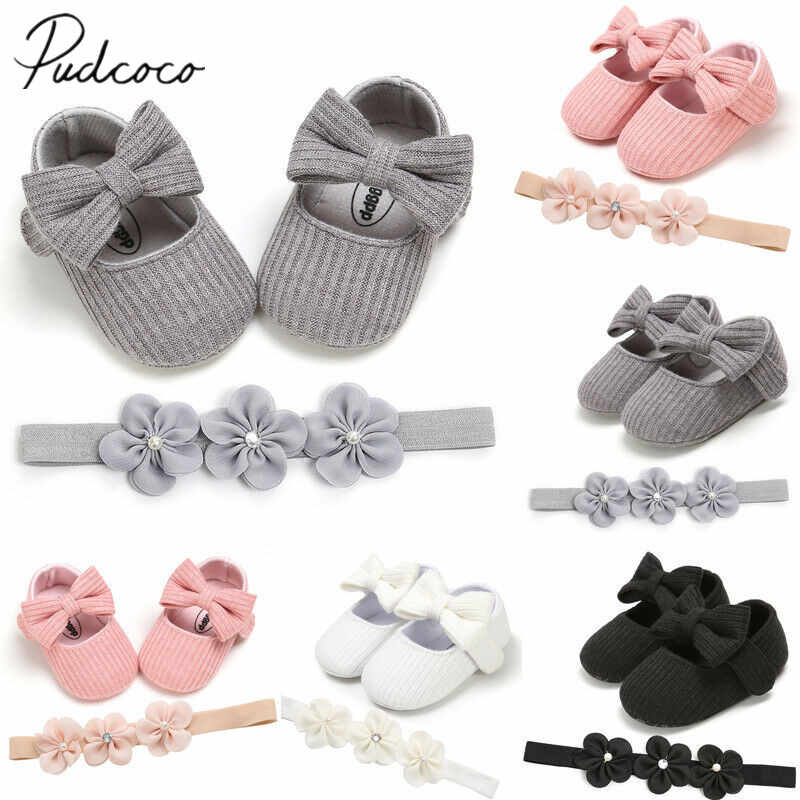 2019 Baby First Walkers Toddler Girl Crib Shoes Baby Bowknot Soft Sole Prewalker Dress Solid Shoes + Headband 2Pcs