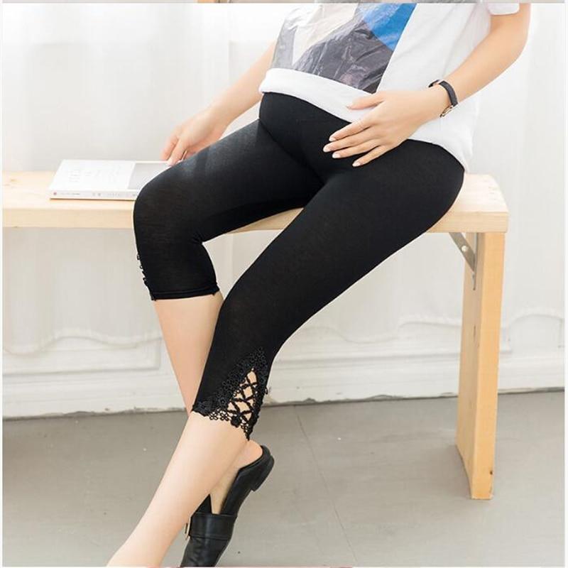 Pregnancy Leggings Women Summer Thin Modal Cotton Adjust Belt Lace Hollow Capri Legin Maternity Pant Plus Size Black White Grey
