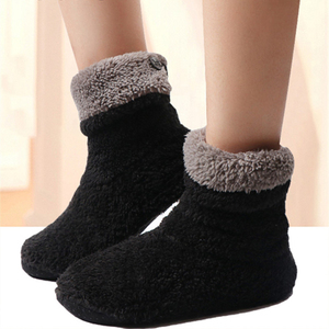 Winter Warm Slippers Women Fleece Home Slipper Female Sock Shoes Ladies Faux Fur Slides Flats Soft House Slippers For Women