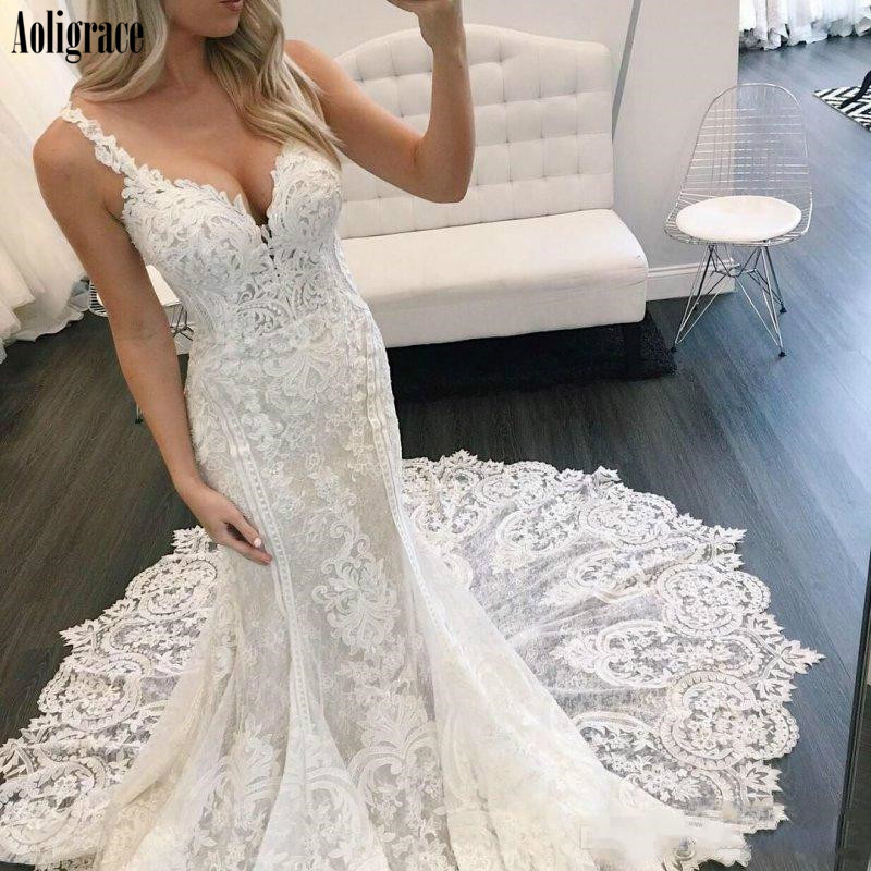 Luxury Lace Mermaid Wedding Dresses Deep V-Neck Backless Appliques Sweep Train Country Style Bridal Gowns Chic Vestidoe De Noiva