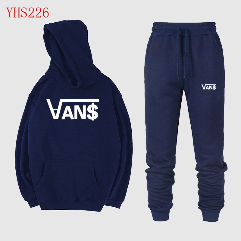 2019 New Fashion Men's Sweatshirt Casual Print Hoodie Two-piece Full Wool Hoodie + Jogging Sports Pants Suit Men And Women