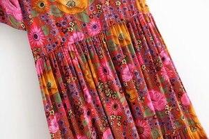 Image 5 - Vintage chique feminino laço up floral impressão praia boêmio maxi vestido senhoras rayon verão boho vestidos