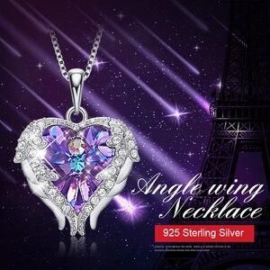 Image 2 - Cdyle collar con colgante de corazón y alas de Ángel para mujer, de Plata de Ley 925 con Cristal púrpura, para fiesta de cumpleaños