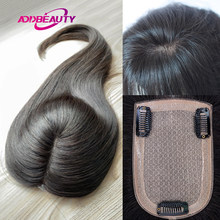 Addbeauty Women Lace PU Toupee Hairpiece Wig Volume Hair Extension Straight Human Remy Wigs Natural Black Double Knot Durable
