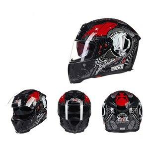 Image 2 - جديد حقيقي GXT كامل الوجه الخوذات شتاء دافئ مزدوج قناع دراجة نارية خوذة كاسكو دراجة نارية السعة