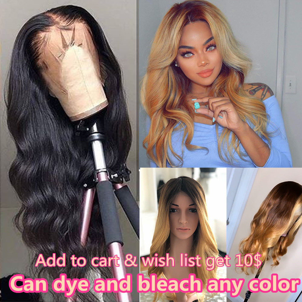 <font><b>10A</b></font> 13x6 <font><b>Lace</b></font> Front Human Hair <font><b>Wig</b></font> Brazilian Virgin Hair Natural Color with Baby Hair Body Wave Human Hair <font><b>Wigs</b></font> for Black Women image