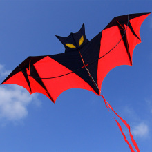 Bat Power Kite with Handle Line Black Red Shape High Quality Toys for Children