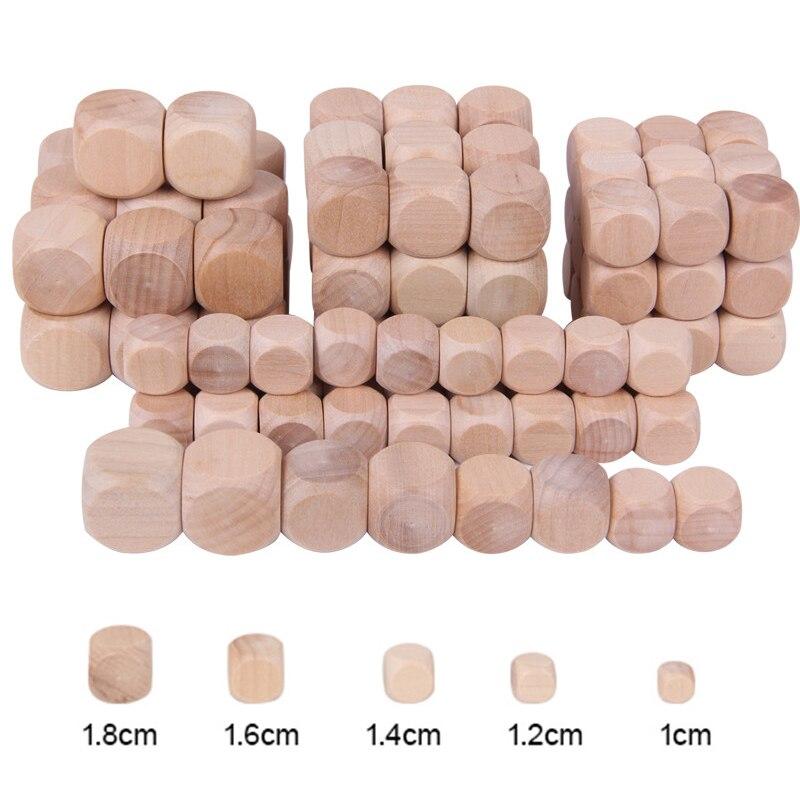 Dado de madeira redondo, 50 pçs/set 6 lados branco madeira para festa família jogos diy impressão gravura criança brinquedos