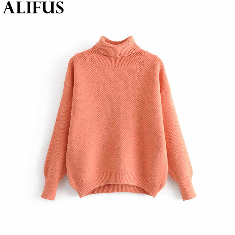 Fashion Za Women Sweaters 2019 Winter Woman Turtleneck Sweater Solid Long Sleeve Loose Pullovers Knitted Jumper Female