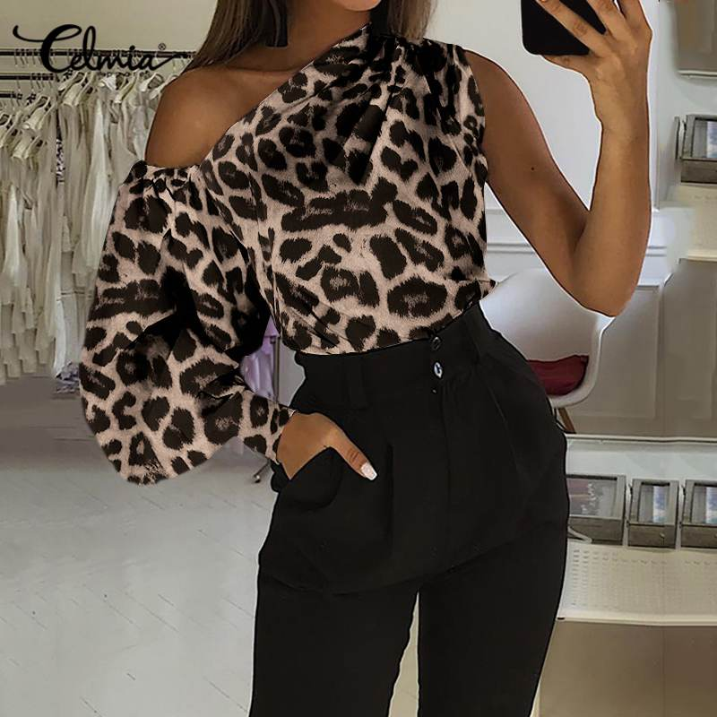 S-5XL Women's Blouses Fashion Tops Celmia Sexy One Off Shoulder Leopard Printed Shirt Casual Long Lantern Sleeve Office Blusas 7