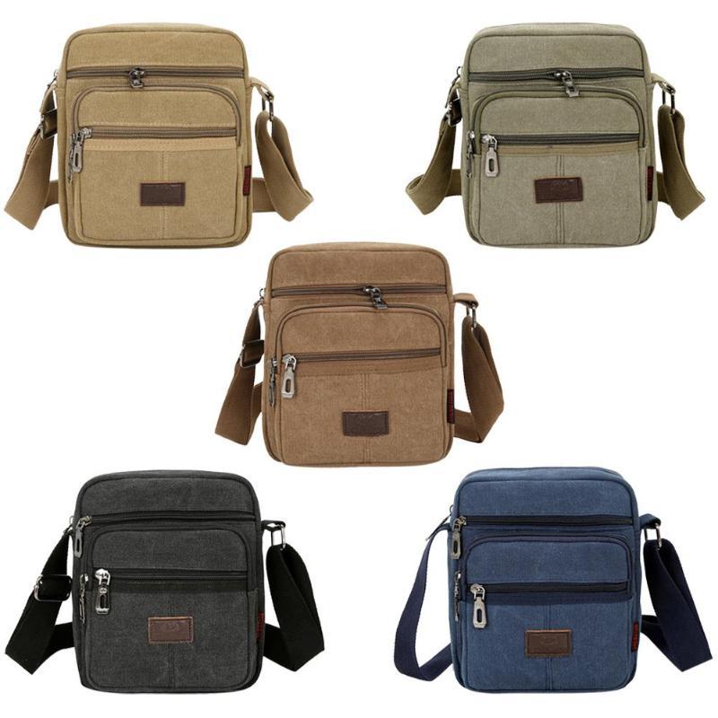 Canvas Crossbody Shoulder Bag Men Zipper Casual Travel Male Messenger Pack