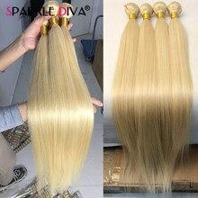 Cabelo humano loiro 613, cabelo brasileiro com ondas liso 613, mel, loiro, extensão de cabelo humano 30 32 polegadas remy cabelo