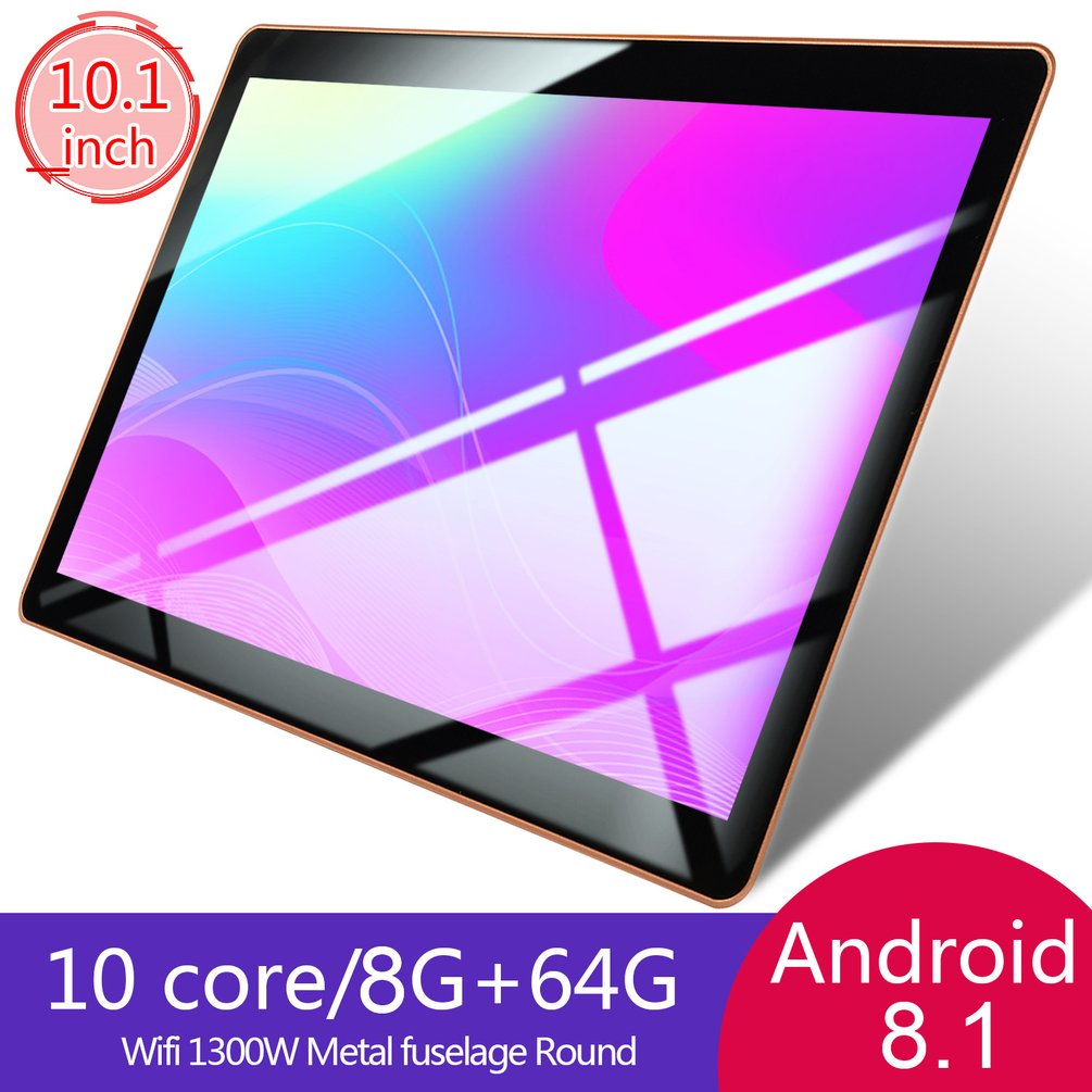 KT107 Plastic Tablet 10.1 Inch HD Large Screen Android 8.10 Version Fashion Portable Tablet 8G+64G Black Tablet Black US Plug