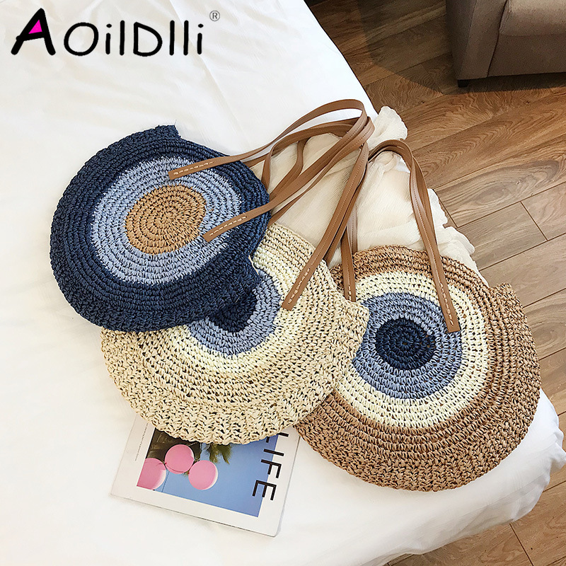2020 Round Straw Bags Women Summer Rattan Bag Handmade Woven Beach Cross Body Bag Circle Bohemia Handbag Bali Bolso Paja