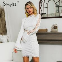 Simplee Elegant women lace bodycon dress White 2 pieces hollow out autumn dress suit Winter sexy party club short party dresses