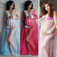 Pregnant Women Dress Photography Photo Shoot Long Sleeve Maternity Lace Maxi Gown Pregnancy Dresses Clothes(China)
