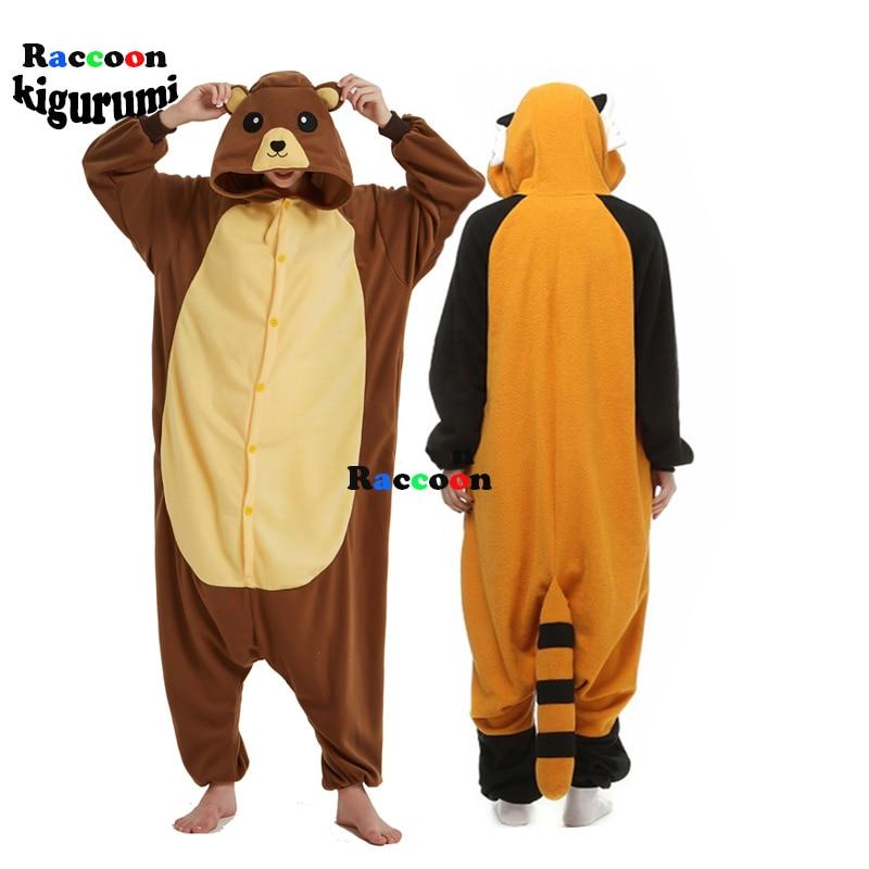 XXL Animal Pajamas Men Cartoon Brown Bear Onesie ForAdults Cosplay Costume Unisex Sleepsuit Home SleepwearRomper Racco Kigurumi