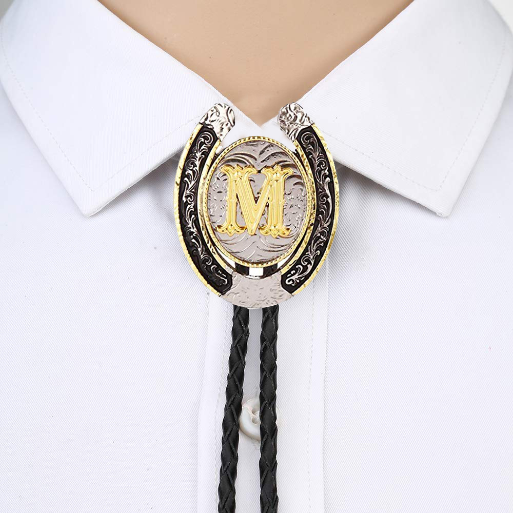 Gold Letter ABCDEFG-Z U Shape Bolo Tie For Man Indian Cowboy Western Cowgirl Leather Rope Zinc Alloy Necktie