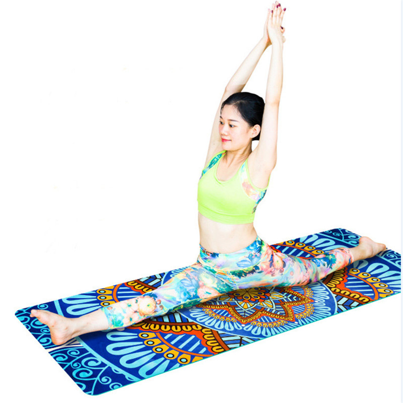 New 5mm Lotus Pattern Suede TPE Yoga Mat Pad Non-slip Slimming Exercise Fitness Gymnastics Mat Body Building Esterilla Pilates