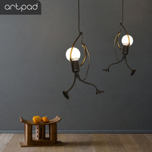 Artpad Black Little Man Charming Pendant Lamp Holder Elegant Hanging Cloth Store Chandelier Luminaire Art Lighting Fixture E27