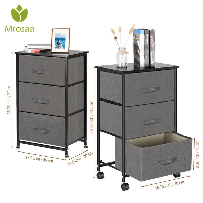 Vertical Dresser Storage Cabinet 3-Drawer Bedroom Nightstand On-Wheels, Adjustable Feet & Rolling Wheels, Wood Top, Fabric Bins